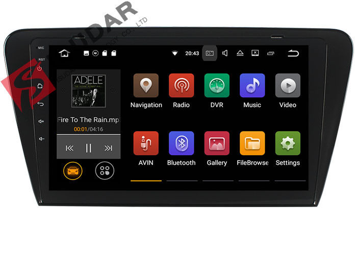 10.1 Inch 1024*600 Android Car Navigation System Skoda Octavia Car Stereo Bluetooth 4.0